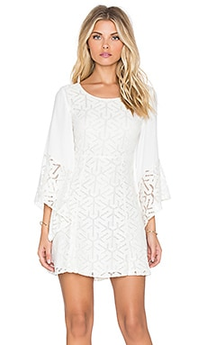 MINKPINK Drive Me Crazy Flare Sleeve Dress in White