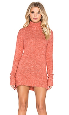 MINKPINK Curious Turtleneck Sweater Dress in Red