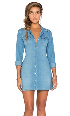 All I Want Button Up Dress in Dark Blue Denim