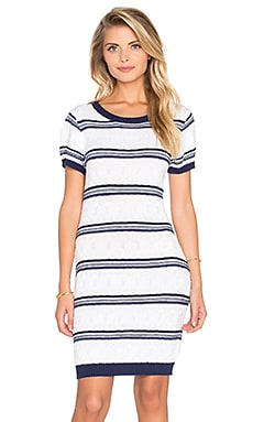 Read Between The Lines Dress in White & Navy