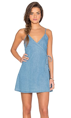 Rodeo League Wrap Dress in Washed Blue