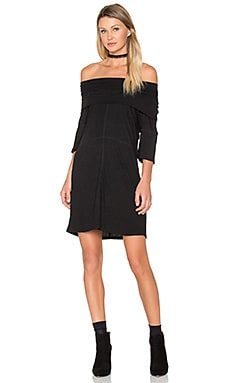 High Neck Rib Dress en Noir