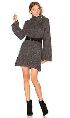High Neck Knit Dress in Dark Grey