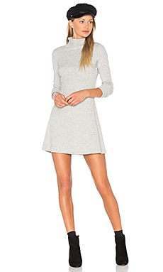 Rib Funnel Neck Dress en Gris Chiné