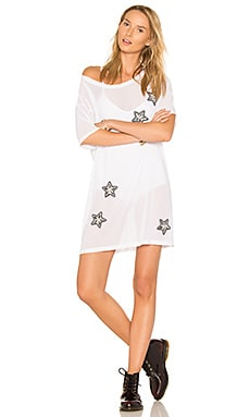 X REVOLVE Stars & Mesh Tee Dress in White