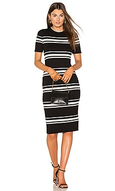 Stripe Rib Sweater Midi Dress in Black Stripe