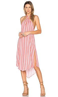Haiti Halter Dress in Coral Stripe