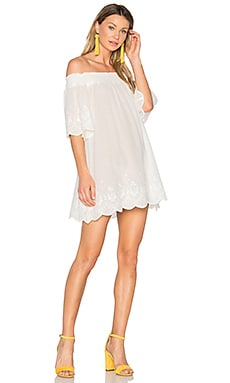 Athena Broderie Anglais Off Shoulder Dress in Cream
