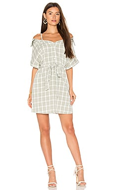 Gingham Off Shoulder Shirt Dress