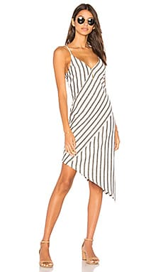 Stripe Linen Asymmetrical Slip Dress
