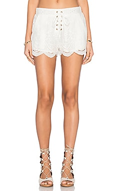 MINKPINK Crescent Moon shorts in Off White