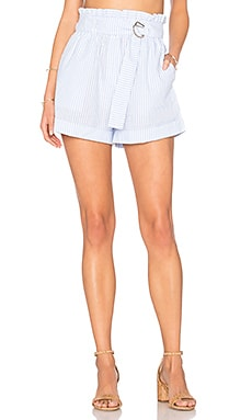 Striped D Ring Paperbag Shorts in Light Blue & White