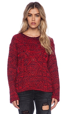 MINKPINK Festival Flames Knit Pullover in Red/Navy Marle