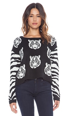 MINKPINK Tiger Time Knit Jumper in Black & White