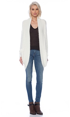 MINKPINK Fuzzy Cocoon Cardigan in White