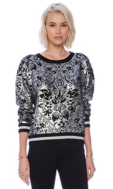 MINKPINK Over the Moon Pullover in Black & Silver