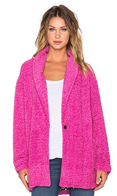MINKPINK Sweet Sunday Cardigan Coat in Fuchsia Pink