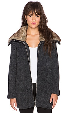 MINKPINK What's Real Faux Fur Cardigan in Grey Marle