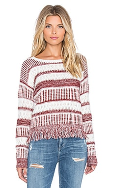 MINKPINK Sunday Frills Fringe Sweater in Maroon & White