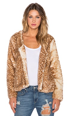 MINKPINK Oh Deer Faux Fur Coat in Multi