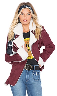 MINKPINK SU2C x REVOLVE Under Control Aviator Faux Fur Jacket in Wine