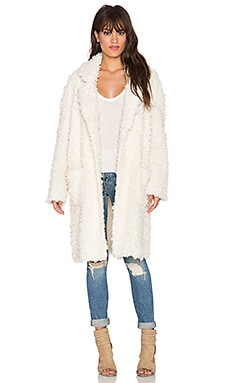 MINKPINK Just Obsessed Fauc Fur Coat in Honey