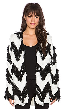 MINKPINK Move Along Cardi Coat in Black & White