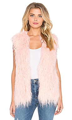 MINKPINK Pretty In Pink Faux Fur Vest in Pale Pink