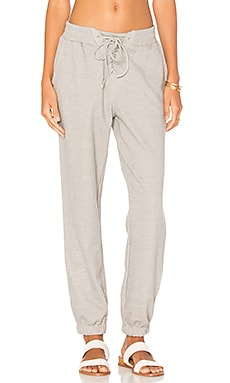 Lace Up Track Pant em Grey Marle