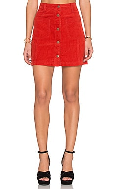 MINKPINK Patch Cord Button Front Skirt in Rust