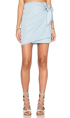 Kick Back Skirt in Chambray