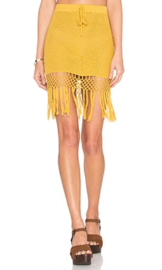 MINKPINK Adore You Fringe Skirt in Ochre