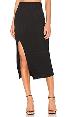 Directional Rib Skirt in Black