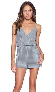 MINKPINK Mix It Up Playsuit in Navy & White