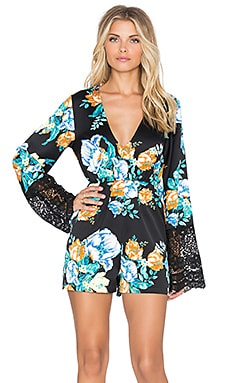 MINKPINK Simply Bloom Lace Sleeve Romper in Multi