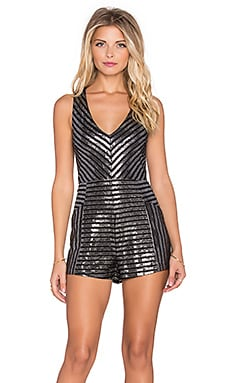 MINKPINK Glimmer Of Hope Romper in Black & Silver