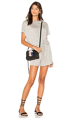 Square Textured Tee Playsuit en Gris Clair Chiné