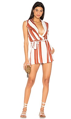 Striped Draped Playsuit in White & Red