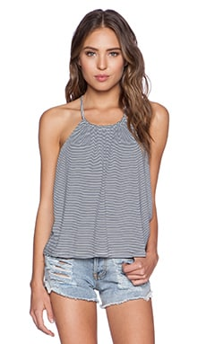 MINKPINK Mix It Up Low Back Top in White & Navy
