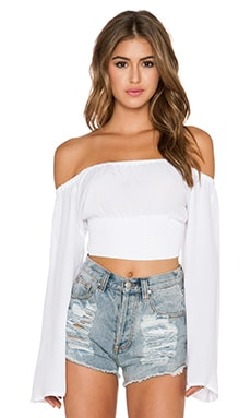 MINKPINK White Wash Off Shoulder Crop Top in White