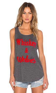 MINKPINK Wiskey & Wolves Tank in Grey Marle