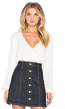 MINKPINK Cross Over Crop Top in Off White