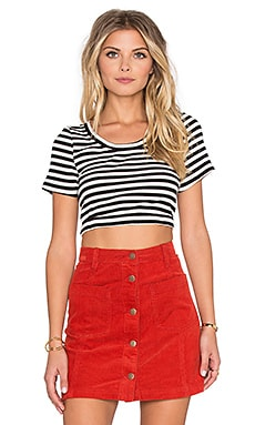 MINKPINK Strike Me Crop Top in Black & White