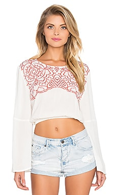 MINKPINK Wild Hearts Top in Off White & Terracotta