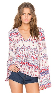 MINKPINK Western Wonder Blouse in Cream & Multi