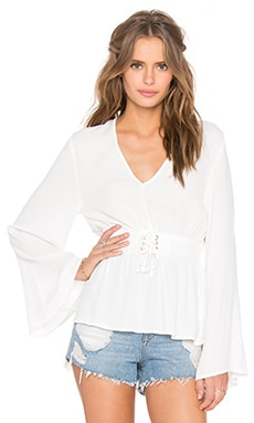 MINKPINK Hanging On Blouse in Off White