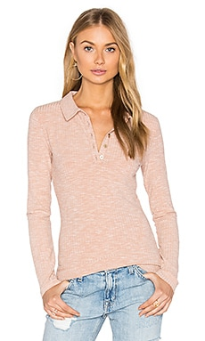 Rib Polo Top in Dusty Pink