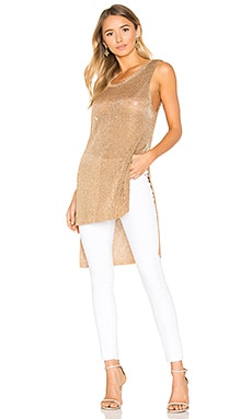 Metallic Knit Tunic Tank in Rose Gold