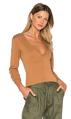 Brushed Modal Deep V Top in Burnt Amber
