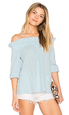 Business Class Off Shoulder Top in Light Blue